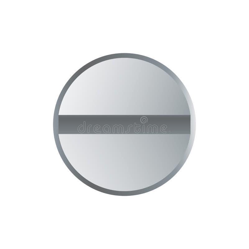 Cabeça do parafuso metálica isolada no branco ilustração stock