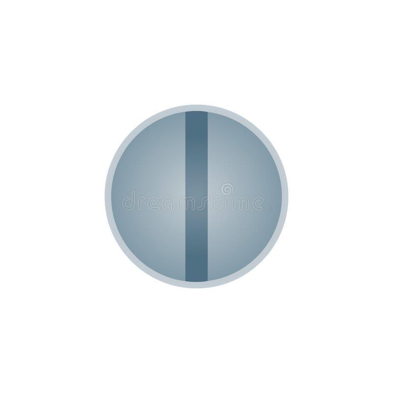 Cabeça do parafuso metálica isolada no fundo branco ilustração do vetor