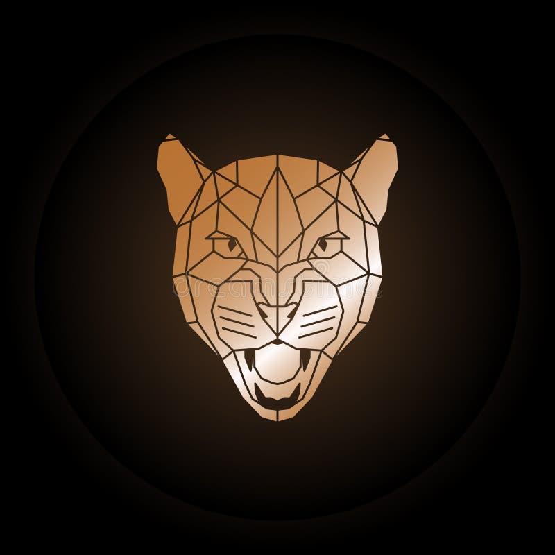 Cabeça do puma do logotipo no estilo poligonal ilustração do vetor