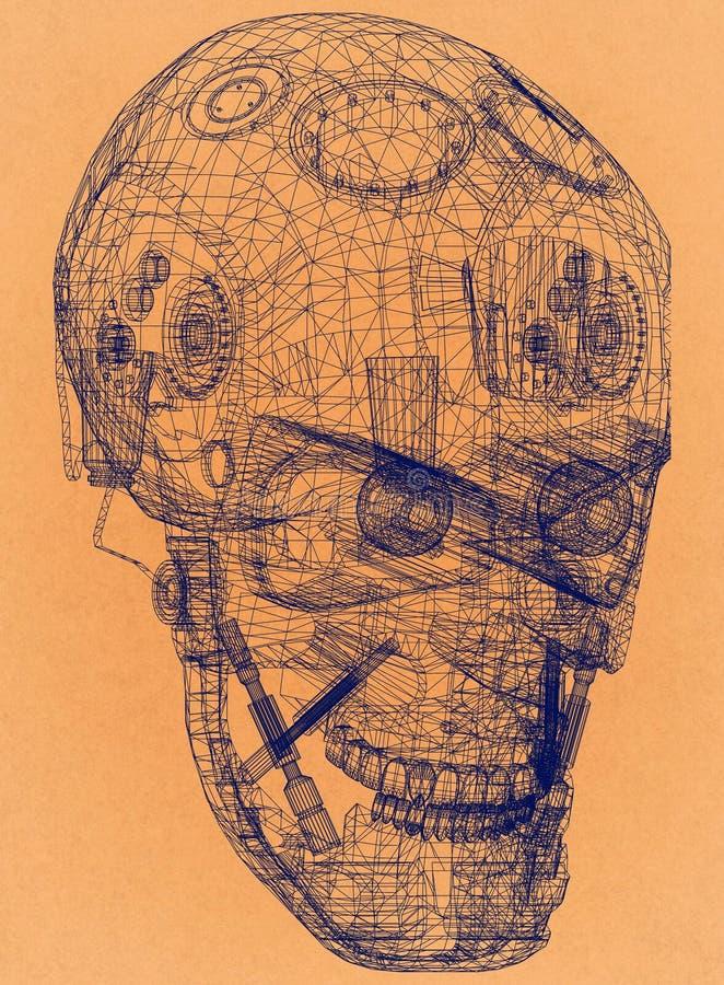 Cabeça do robô - arquiteto retro Blueprint ilustração royalty free