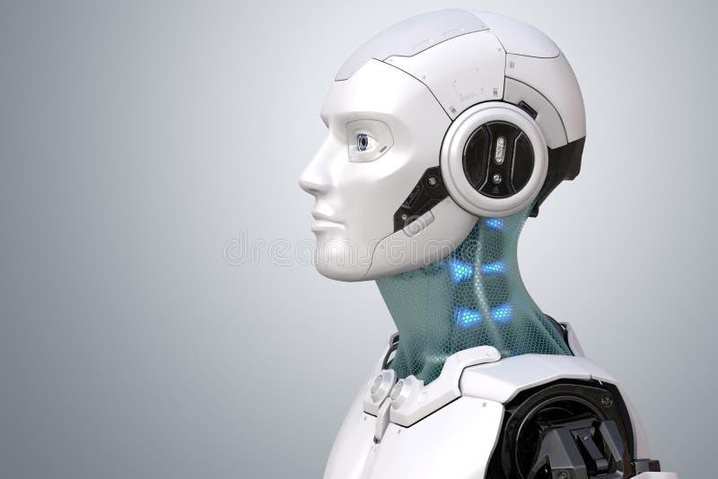 Cabeça do ` s do robô no perfil ilustração do vetor