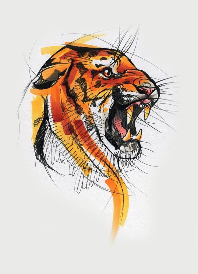 Cabeça do tigre pintada na aquarela ilustração do vetor