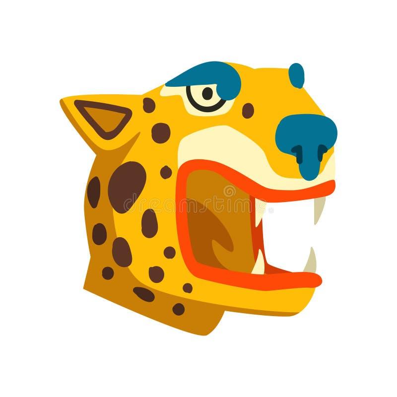 Cabeça do tigre, símbolo da civilização do Maya, ilustração tribal americana do vetor do elemento da cultura em um fundo branco ilustração stock