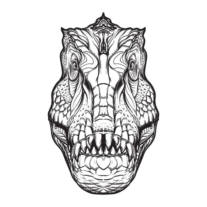 Cabeça do tiranossauro no fundo branco ilustração royalty free