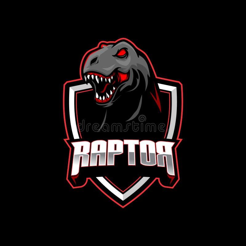 Cabeça do tiranossauro ou do T-rex do dinossauro da ave de rapina com molde do logotipo do vetor do protetor ilustração stock