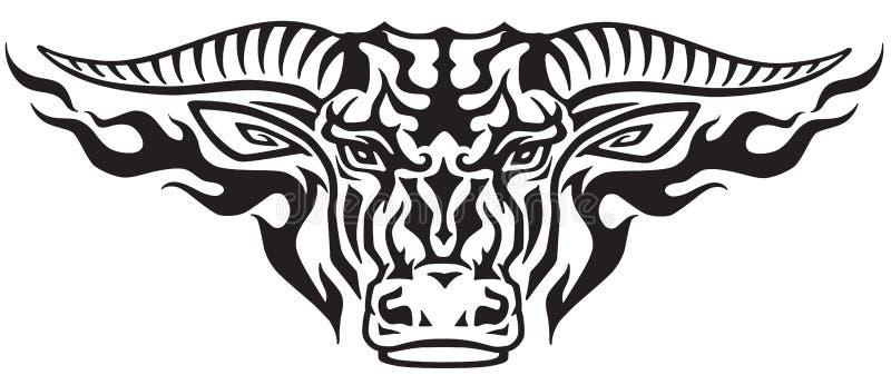 Cabeça do touro do taurus nas chamas ilustração do vetor