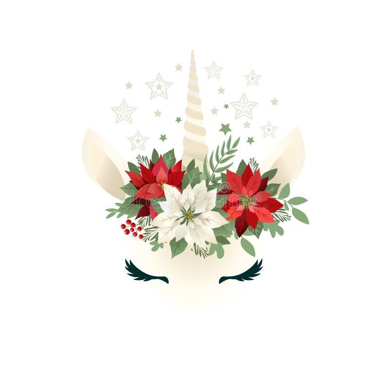 Cabeça do unicórnio tirado mão com a grinalda floral no fundo branco ilustração royalty free