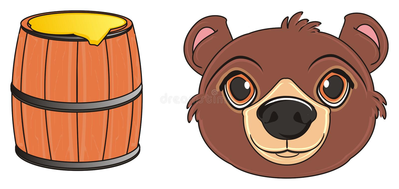Cabeça do urso com alimento ilustração royalty free