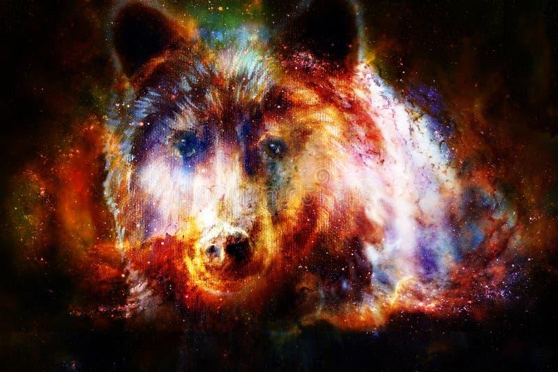 Cabeça do urso marrom poderoso no espaço, pintura a óleo na lona e colagem do gráfico Contato de olho ilustração royalty free