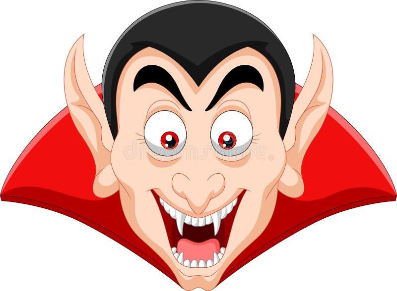Cabeça do vampiro dos desenhos animados no fundo branco ilustração royalty free