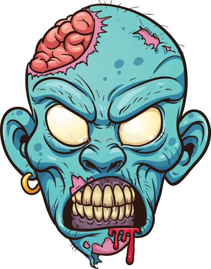 Cabeça do zombi dos desenhos animados ilustração royalty free