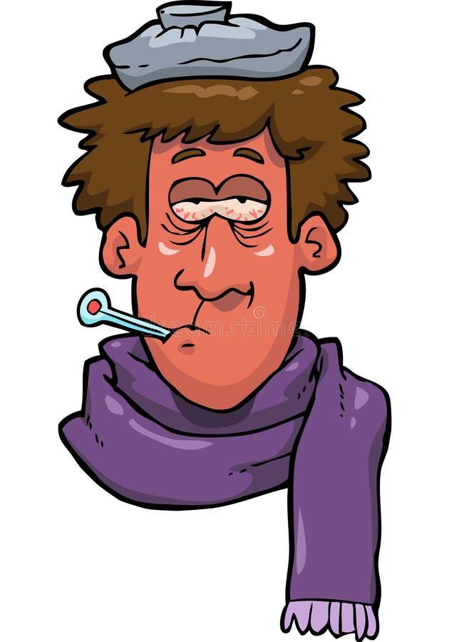 Cabeça doente do homem ilustração royalty free