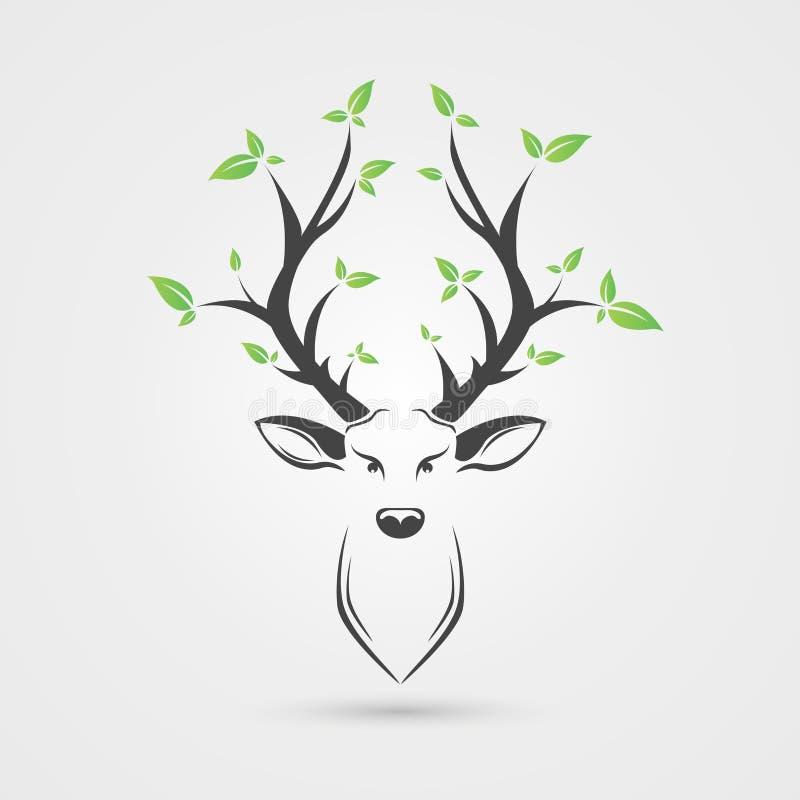 Cabeça dos cervos com folhas Estilo creativo Ilustração do vetor ilustração royalty free