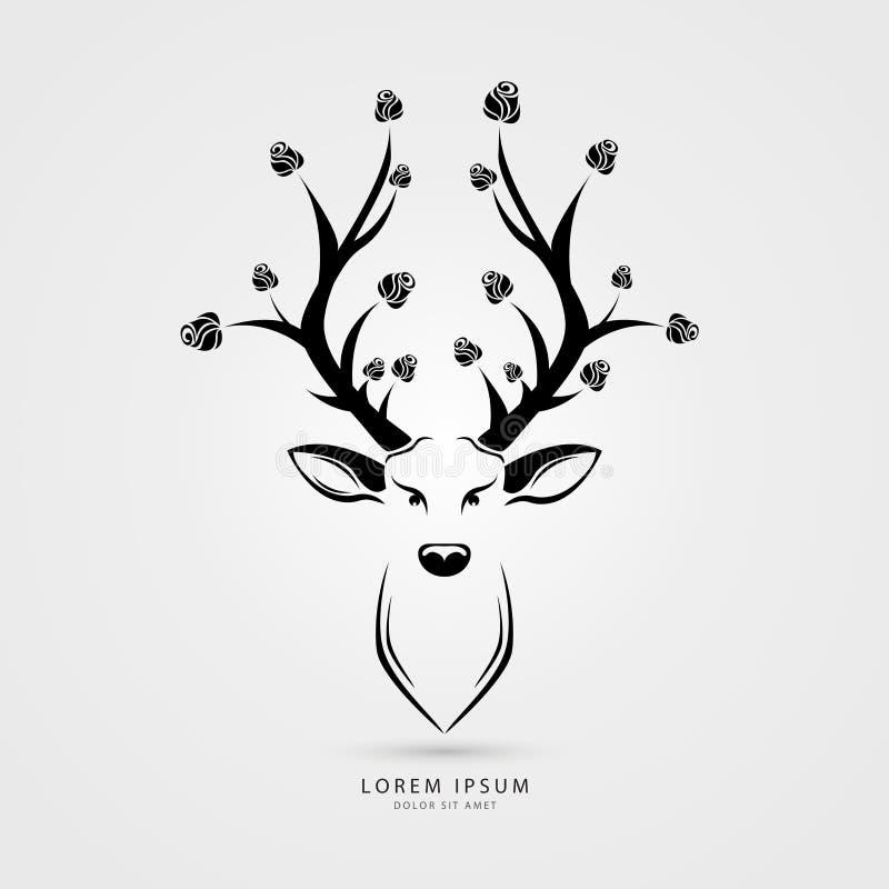 Cabeça dos cervos com ilustração do vetor das rosas Estilo creativo Vetor ilustração royalty free