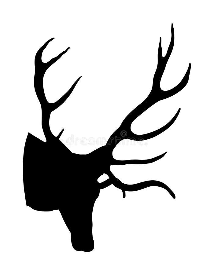 Cabeça dos cervos com a silhueta dos chifres isolada no fundo branco Rena, troféu masculino dos cervos nobres orgulhosos Fanfarrã ilustração do vetor