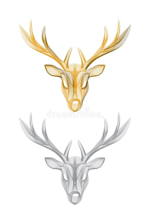 Cabeça dos cervos do vetor isolada ilustração royalty free