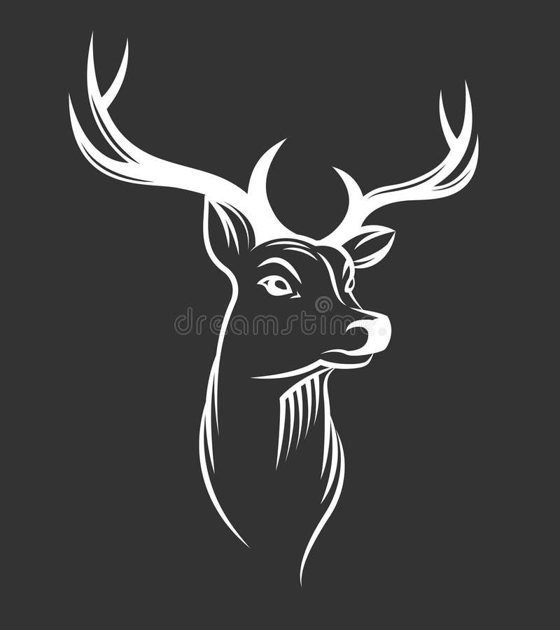 Cabeça dos cervos no fundo preto ilustração do vetor
