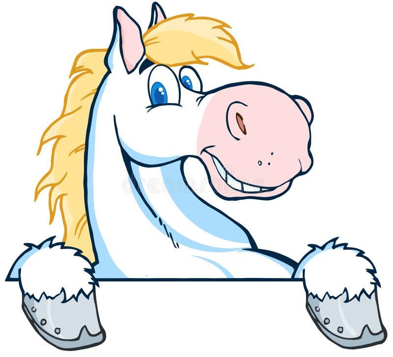 Cabeça dos desenhos animados da mascote do cavalo branco ilustração do vetor
