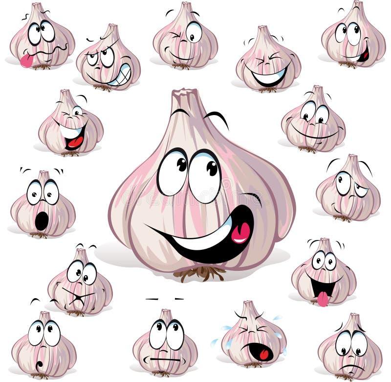 Cabeça dos desenhos animados do alho ilustração stock