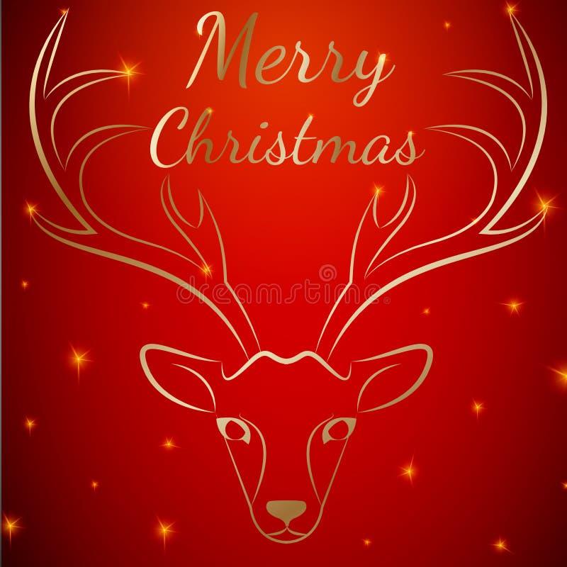 Cabeça dos veados vermelhos do Feliz Natal ilustração do vetor