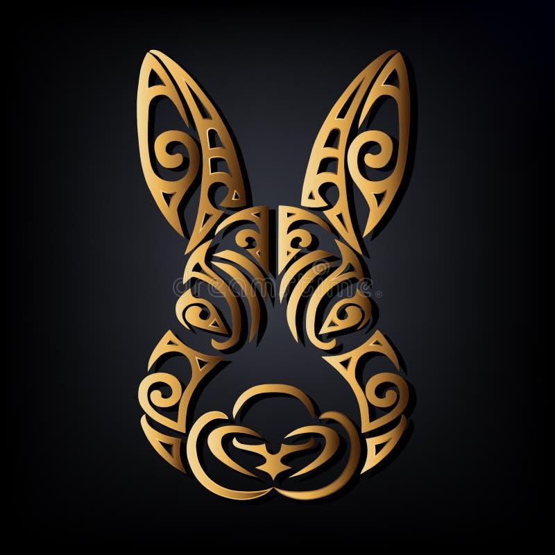 Cabeça dourada do coelho isolada no fundo preto ilustração royalty free