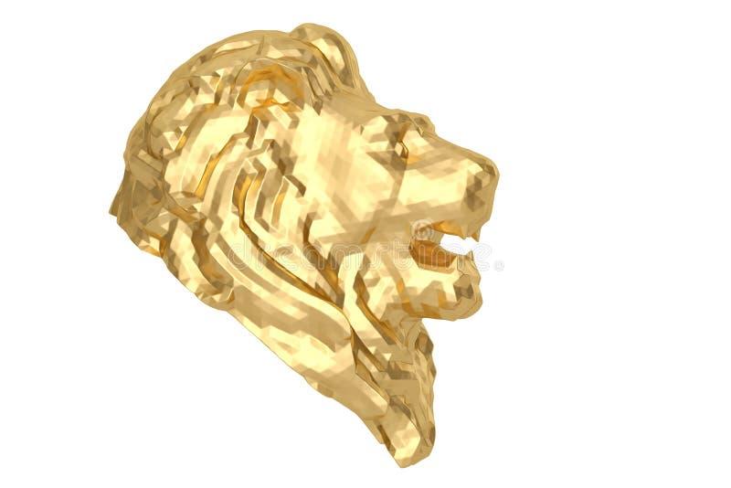 Cabeça dourada do leão do baixo estilo poli ilustração 3D ilustração royalty free
