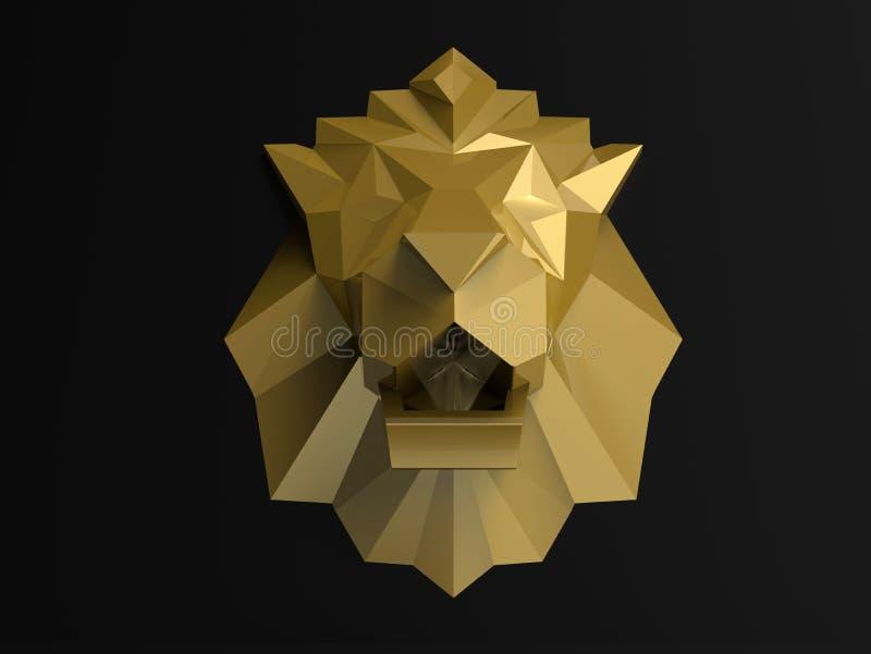 Cabeça dourada do leão - conceito do sumário 3D ilustração stock