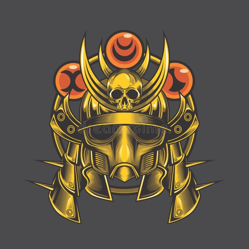Cabeça dourada do samurai ilustração do vetor
