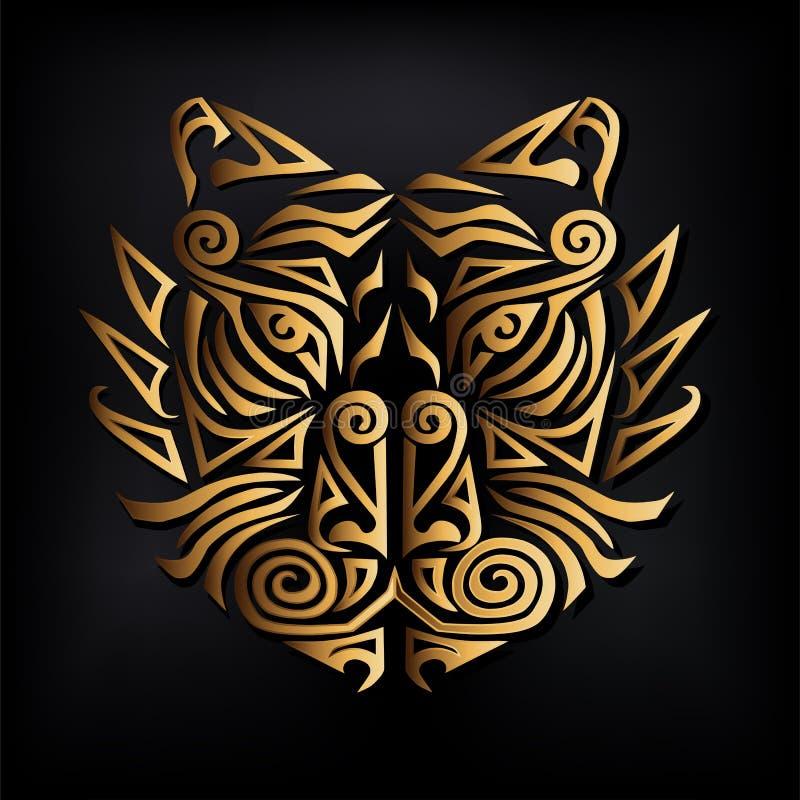 Cabeça dourada do tigre isolada no fundo preto ilustração royalty free