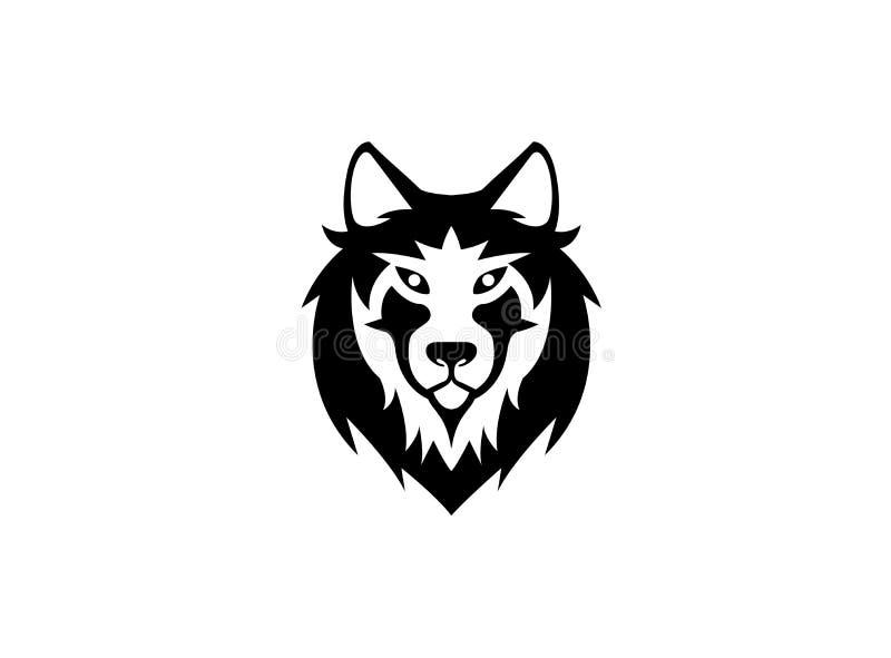 Cabeça e cara do lobo que olham na parte dianteira para o logotipo ilustração stock