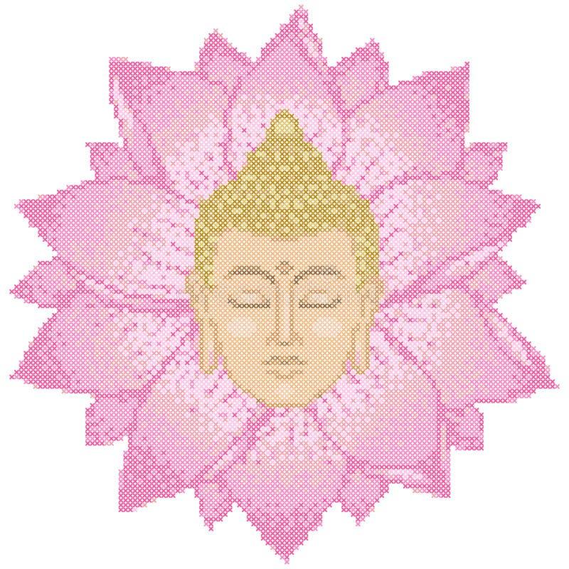 Cabeça e Lotus Cross Stitch da Buda ilustração royalty free