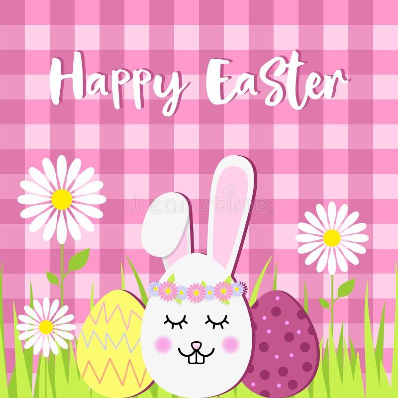 Cabeça e ovos da páscoa do coelho do ovo em uma grama verde Cartão de Páscoa feliz do vetor ilustração royalty free