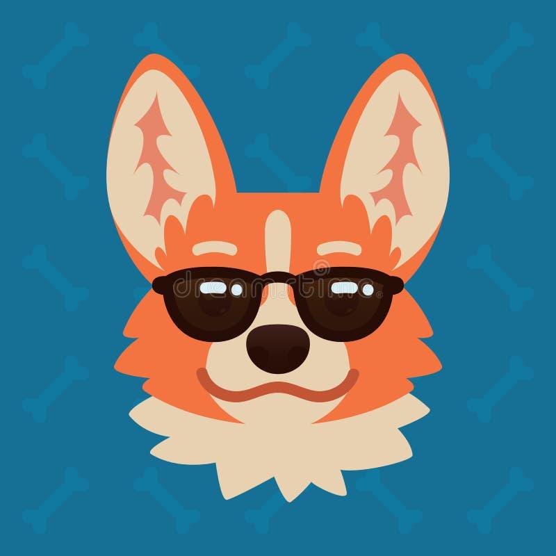 Cabeça emocional do cão do Corgi nos óculos de sol A ilustração do vetor do cão bonito no estilo liso mostra a emoção Emoji fresc ilustração do vetor