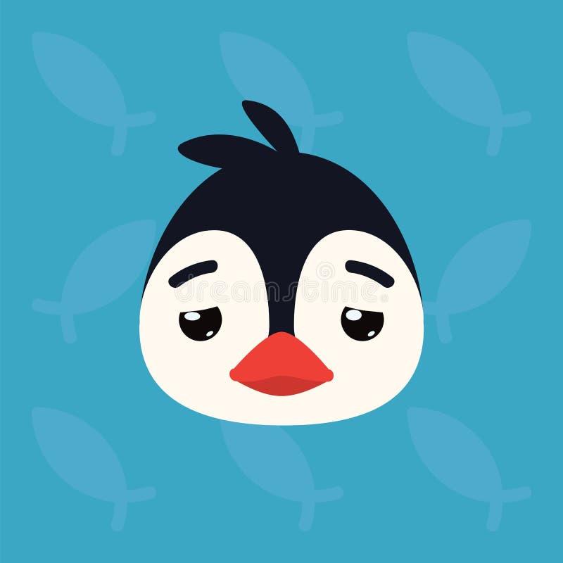 Cabeça emocional do pinguim A ilustração do vetor do pássaro ártico bonito mostra a emoção cansado Emoji deprimido Ícone do smile ilustração do vetor