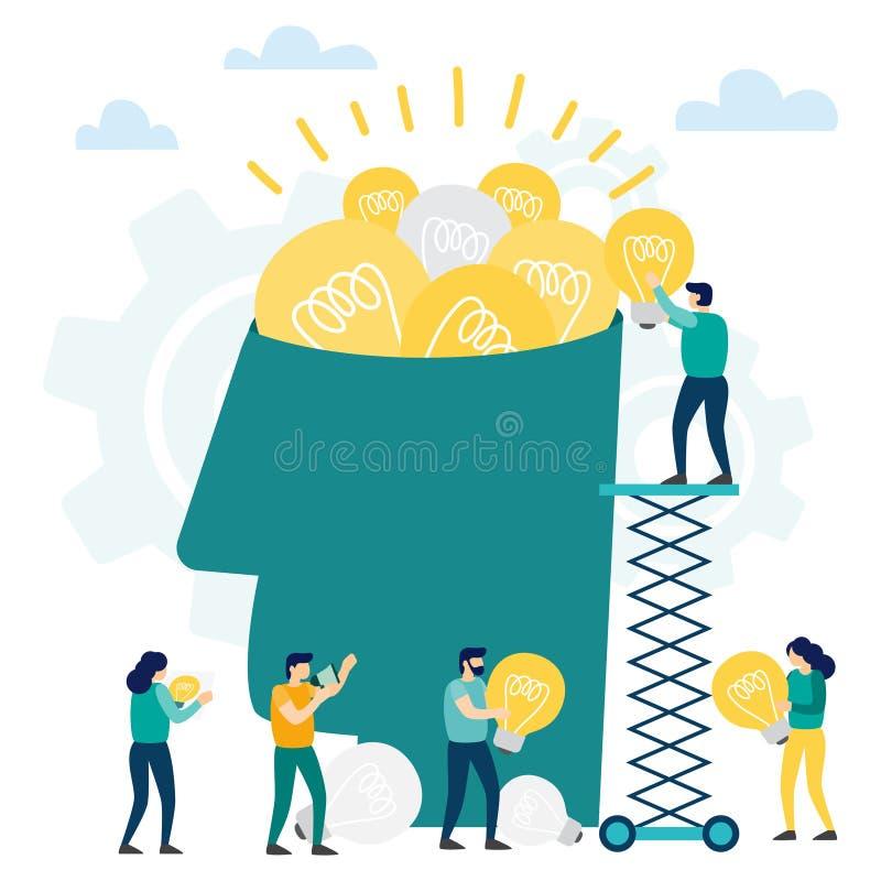 A cabeça encheu-se das ideias e pensa para a análise ilustração do vetor