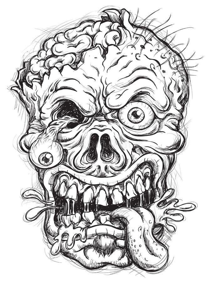 Cabeça esboçado do zombi ilustração royalty free