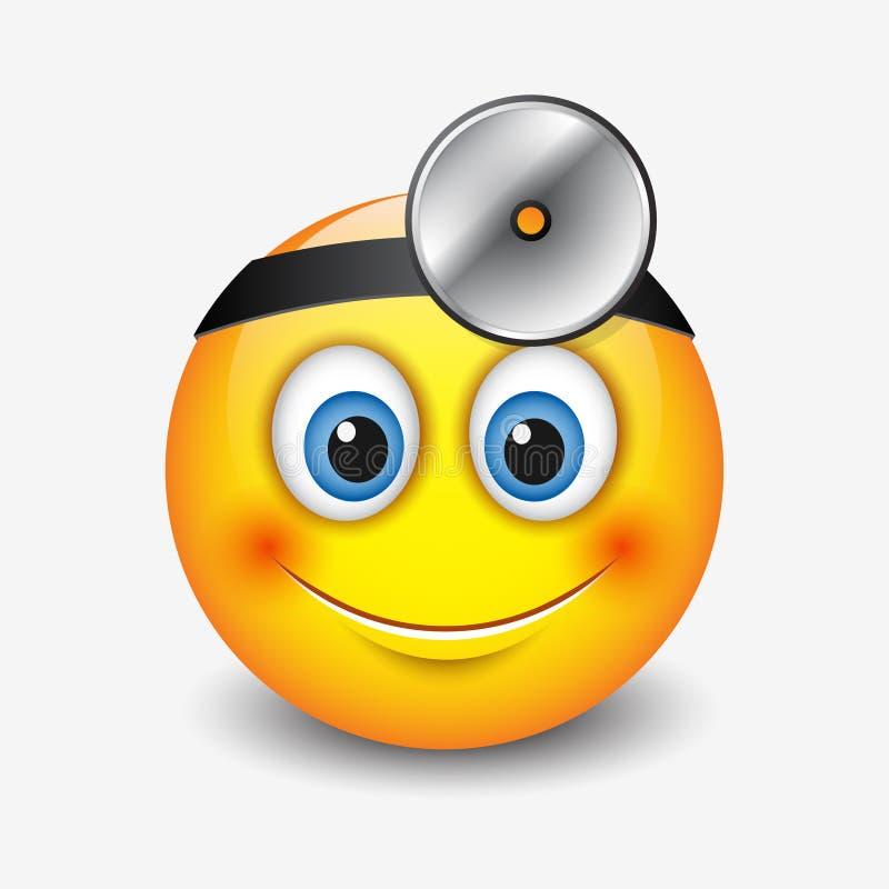 Cabeça-espelho vestindo de sorriso bonito do emoticon do doutor, emoji, smiley - vector a ilustração ilustração royalty free