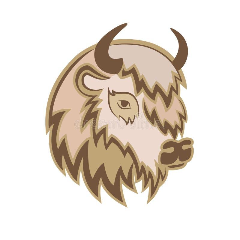 Cabeça estilizado de um búfalo com os chifres no lado ilustração do vetor