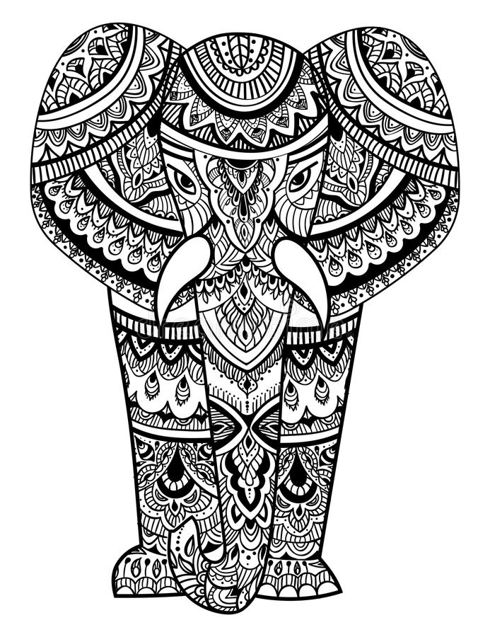 Cabeça estilizado de um elefante Retrato decorativo de um elefante Desenho preto e branco indian mandala Vetor ilustração royalty free