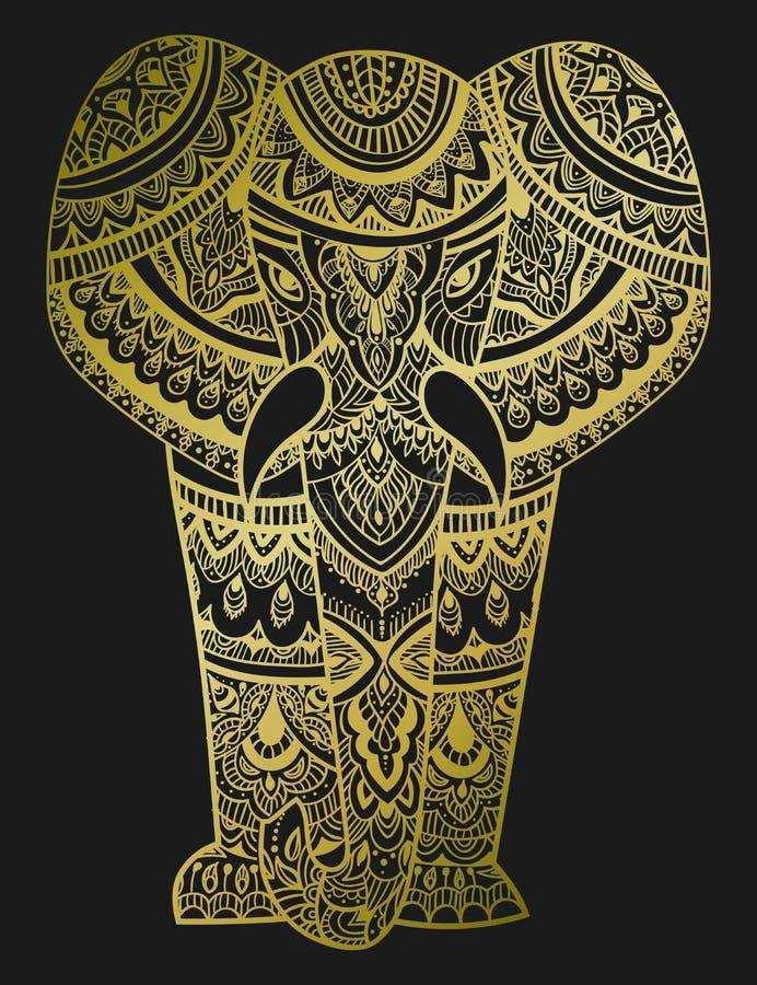 Cabeça estilizado de um elefante Retrato decorativo de um elefante Teste padrão do ouro em um fundo preto indian mandala ilustração do vetor