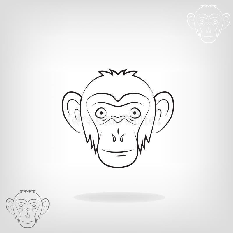 Cabeça estilizado de um macaco ilustração royalty free
