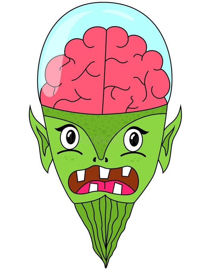 Cabeça estrangeira dos desenhos animados com o cérebro na abóbada de vidro ilustração do vetor