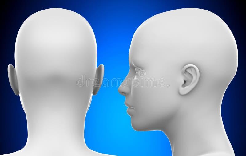 Cabeça fêmea branca vazia - toma partido e a ilustração traseira da vista 3D ilustração royalty free