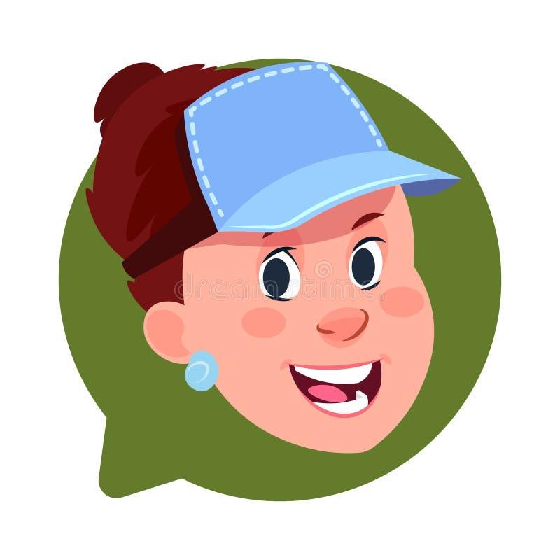 Cabeça fêmea do ícone do perfil na bolha isolada, retrato caucasiano do bate-papo do personagem de banda desenhada do Avatar da m ilustração stock