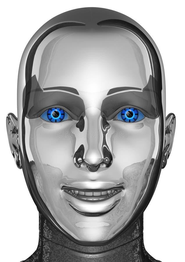 Cabeça fêmea e cara do robô de Android da mulher isoladas ilustração royalty free