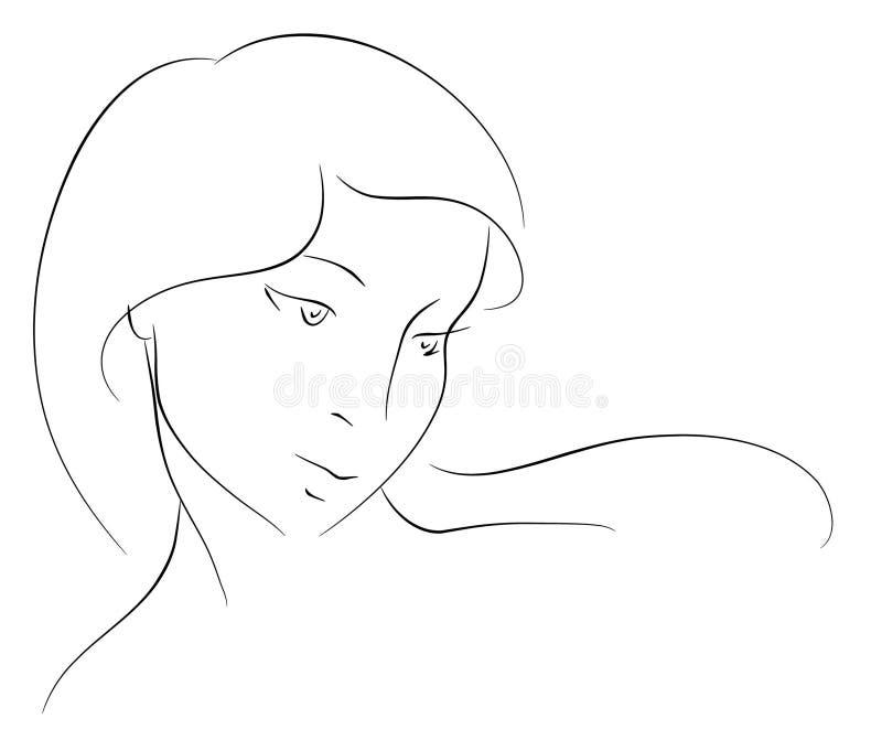 Cabeça fêmea. Silhueta ilustração royalty free
