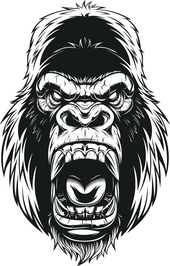 Cabeça feroz do gorila ilustração stock