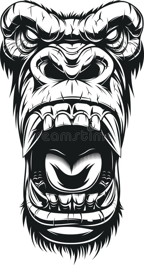 Cabeça feroz do gorila