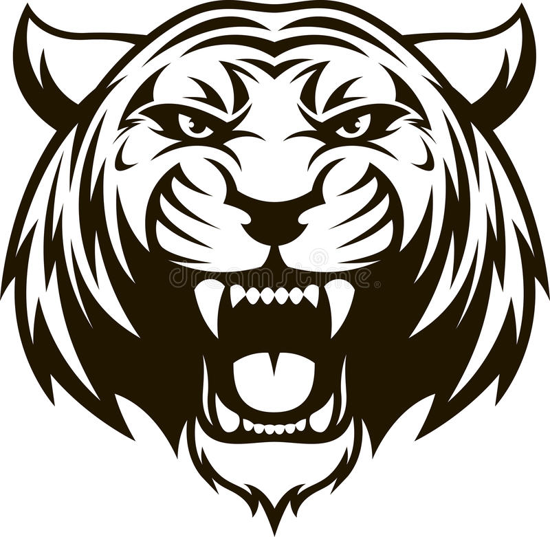 Cabeça feroz do tigre ilustração royalty free