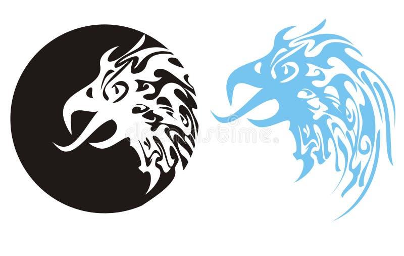 Cabeça flamejante da águia. Cabeça da águia em um círculo ilustração do vetor
